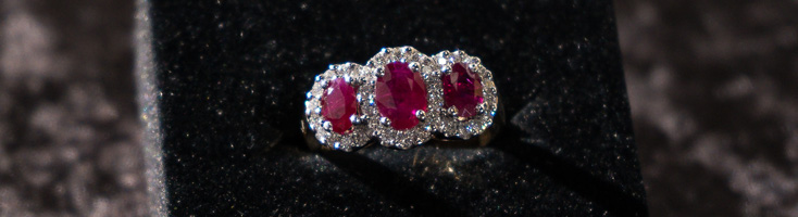 18ct Yellow & White Gold Diamond & Ruby Ring